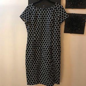 Black & white polka dot dress capped sleeves